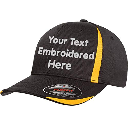 Custom Hat Flexfit 6599 Flexfit Cool & Dry Sport .Your Own Text Curved Bill (Flexfit Cool & Dry Sport 6599 L/XL, - Cap Hat Custom Fitted