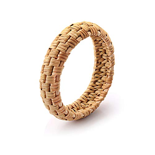 - HEIDKRUEGER Rattan Bracelet for Women Handmade Lightweight Straw Wicker Braid Woven Bangle Bracelet Statement Chunky Bangle Bracelet (A)