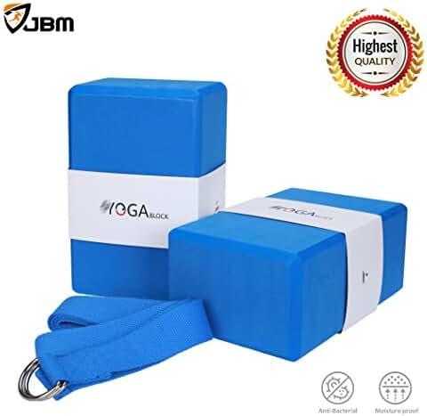 JBM Yoga Block plus strap with Metal D-Ring Yoga Brick Cork Yoga Block 6 colors - High Density EVA Foam Yoga Block to Support and Deepen Poses, Lightweight, Odor-Resistant