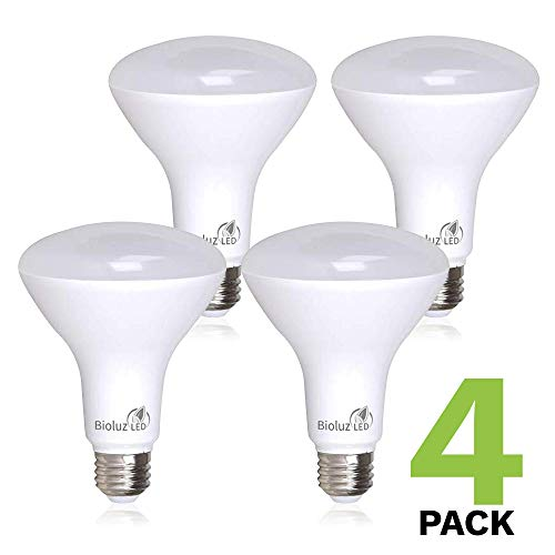 4 Pack BR30 Bright LED Light Bulbs by Bioluz LED INSTANT-ON Warm White LED 2700K, 11 Watt Energy Saving Light Bulbs (95 watt Equivalent) Indoor Outdoor Dimmable Lamp UL Listed