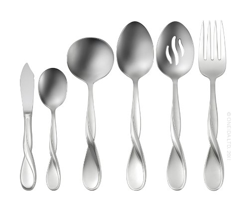 Satin Serving Flatware - Oneida Satin Aquarius 6-Piece Serving Set