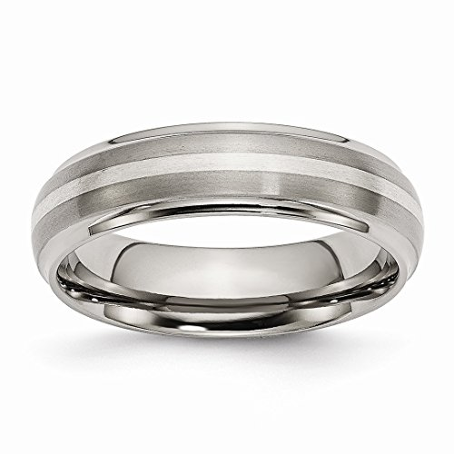 ICE CARATS Titanium Ridged Edge 925 Sterling Silver Inlay 6mm Brushed/Wedding Ring Band Size 12.50 Precious Metal Fine Jewelry Ideal Gifts For Women Gift Set From Heart - New Sterling Silver Ridged Band