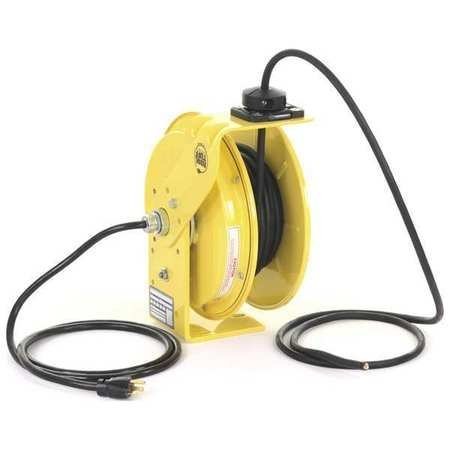 (KH Industries RTB Series ReelTuff Industrial Grade Retractable Power Cord Reel with Black Cable, 12/3 SJOW Cable, 20 Amp, 50' Length, Yellow Powder Coat Finish)