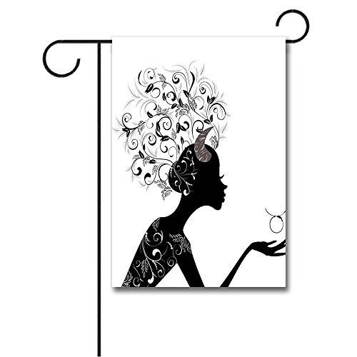 Wondertify Garden Flags Zodiac Taurus Fashion Girl Black Silhouette Floral Hairdo Dress Modern Icon Double Sided House Decoration Polyester Garden Flag 12 X 18 ()