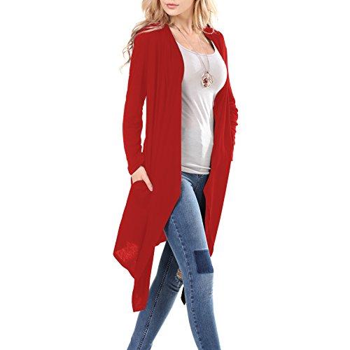 (La Carrie Women's Long Sleeve Open Front Wine Cardigan with Pockets(XL,Wine))