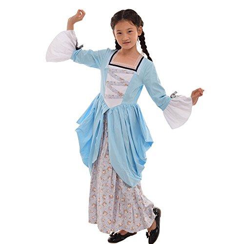 GRACEART Pioneer Pilgrim Girl Colonial Kids Costume Blue 100% Cotton -