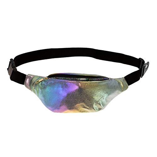 (Bulk Case of 24) Rave Waist Bags - Wholesale Men's, Women, Cute Travel Fanny Pack Money Belt in Rainbow Metallic Print for festivals for $<!--$101.40-->