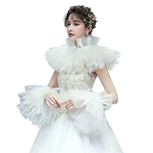 Cher9 European Retro Women Bridal Pleated Ruffled Shawl Shrug Layered Crinkle Stand Collar Lace Up Wedding Bolero Cape