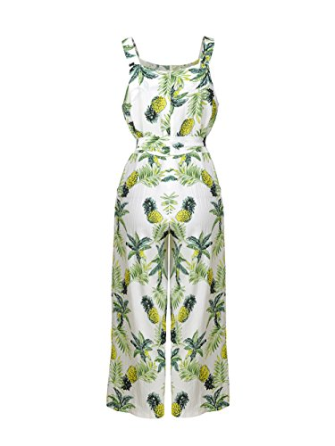 Dongpai Women's Floral Print Strap Jumpsuit Sleeveless Tie Waist Wide Leg Pant Rompers with Pockets by Dongpai (Image #3)