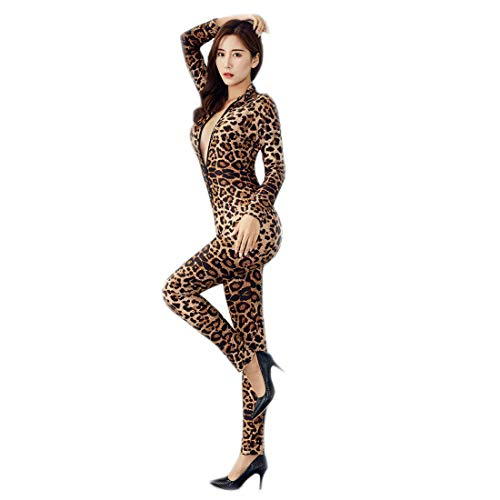 ❤️Womens Open Crotch Jumpsuits Sexy Double Zipper Long Sleeve Bodystocking High Elastic Oil Bright tights Bodysuit ()