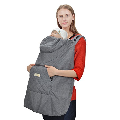 Bebamour All Season Carrier Foldable Packable Coat Universal Hoodie Carrier Cover for Baby Carrier(Grey)