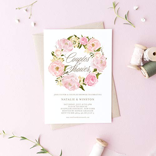 Dozili Floral Couples Shower Invitation Watercolor Blush Pink Peonies Wreath Couples Shower -