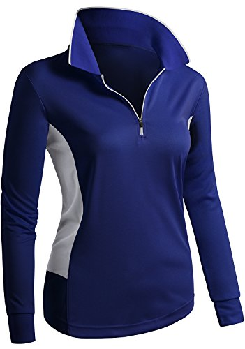 CLOVERY Wicking Material Clothing Functional Fabric Long Sleeve Casual POLO COBALT US L/Tag L