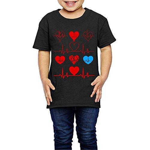 Heart Beat Clipart Costume Infant Kids Crewneck Short Sleeve Shirt Tee 2-6 Toddlers -