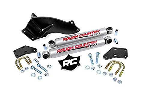 Rough Country - 87494.20 - Dual Steering Stabilizer for 2.5-5-inch Lifts w/ Premium N2.0 Shocks for Ram: 14-17 2500 4WD, 13-17 3500 - Rough Country 3 Lift