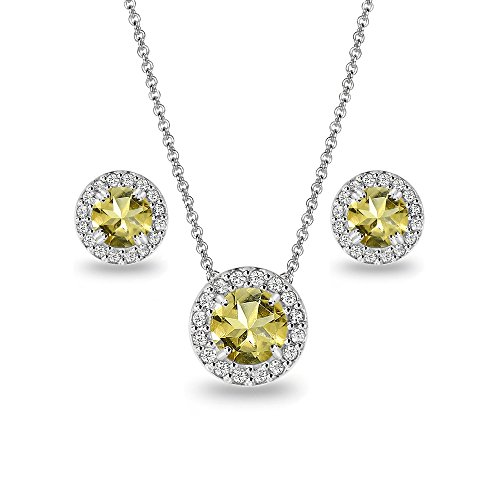 Sterling Silver Citrine and White Topaz Round Halo Necklace and Stud Earrings Set -