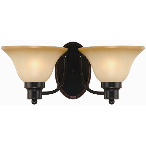 Hardware House Bristol Series 2 Light Oil Rubbed Bronze 7-1/2 Inch by 16 Inch Bath / Wall Lighting Fixture : 16-7222
