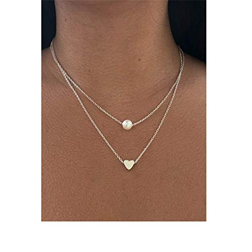 (Simple Imitation Pearl Love Heart Double Layer Clavicle Chain Necklace Accessories Female Jewelry New)