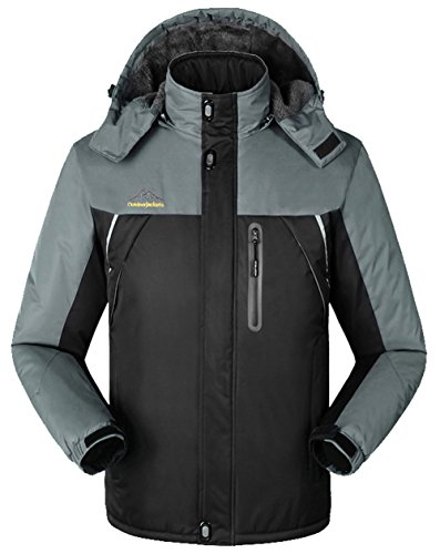 Lottaway Men's Fleece Lined Breathing Climbing Outdoor Jacket Ski Parka Coat 8XL For Men by Lottaway®