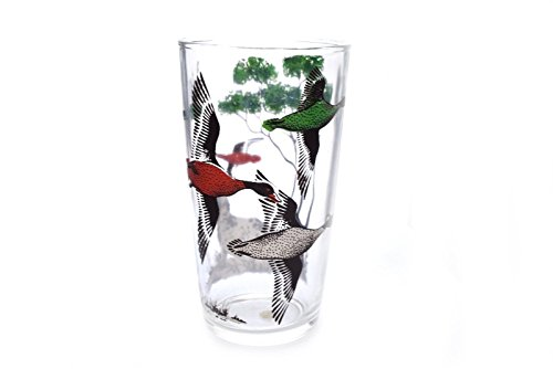 Vintage Tall Tapered Drinking Glass Duck Geese Hunting Dog 5