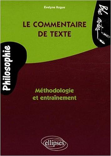 Livres Le commentaire de textes de philosophie pdf epub