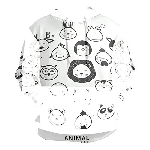 - Collection of Animal Icons Hoodie 3D Pullover Hooded Long Sleeve Workout Sweatshirts