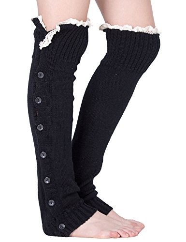 Cuff Pull (Dimore Plus Size Button Leg Warmers Boot Cuffs for Boots Knit Leg Warmers with Lace Crochet)