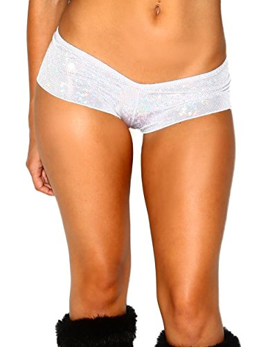 [iHeartRaves Disco Scrunch Back Rave Booty Shorts (Silver)] (90s Era Costumes)