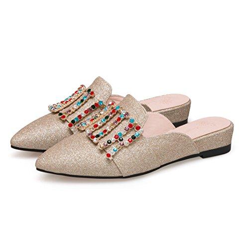 Tacco Con Glitterato Da Laccioli E Donna Mocassini Oro Artfaerie Strass Punta A Mare Pantofole Basso qEHtWaWF