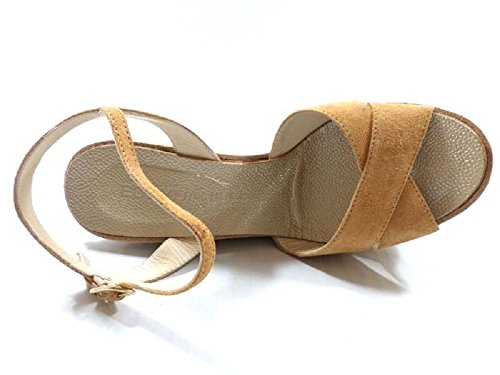 Zapatos Mujer EDDY DANIELE 38 Sandalias Cuñas Marrón claro Gamuza AX680