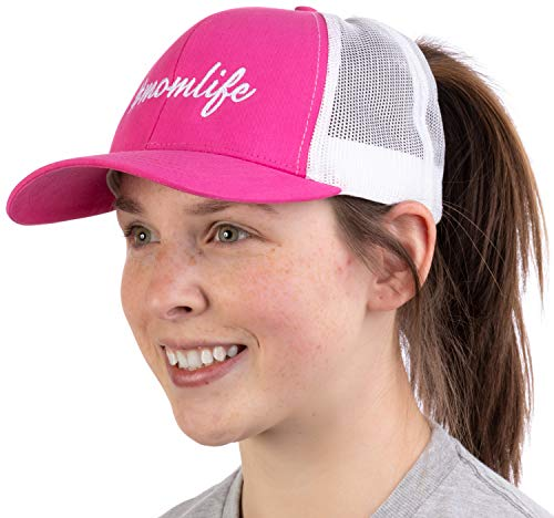 #Momlife | Ponytail Trucker Hat, Funny Cute Mom Life Mommy Mother Pony Tail Cap - Pink