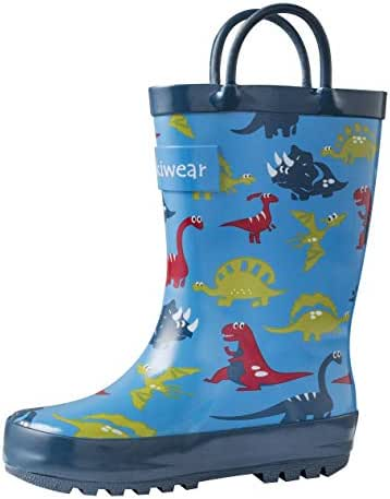 OAKI Kids Rubber Rain Boots with Easy-On Handles, Blue Dino, 5T US Toddler