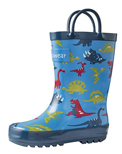 OAKI Kids Rubber Rain Boots with Easy-On Handles, Blue Dino, 7T US Toddler