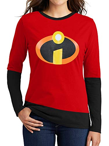 Incredible Graphic Tees for Women - Womens Super Hero Long Sleeve Red Shirt (L) -