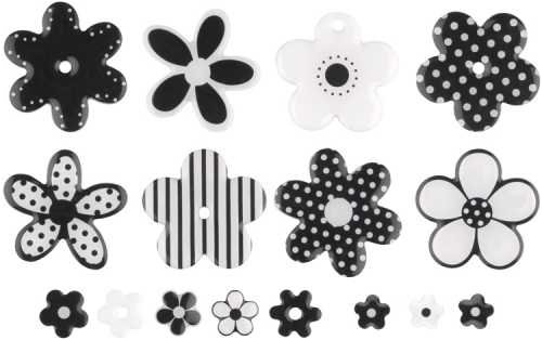 MAKING MEMORIES Sweets Dimensional 2-Sided Embellishments, Flowers Black and - Sweets Embellishments 2 Sided Dimensional