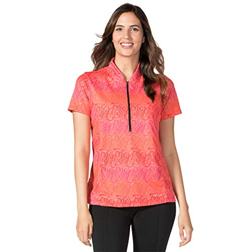 Terry Short Sleeve Actif Cycling Jersey - Women's Breathable Cycling Top with UPF 50+ Sun Protection - Amsterdam/Poppy - - Active Bike Top