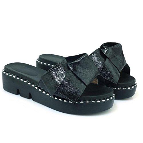 Bowknot RAZAMAZA Sandales Black Enfiler 1 à Femmes zz4qw68
