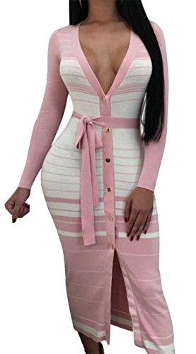 Manicotto Del Striscia Abito Womens Profondo collo Rosa Lungo Tasto Del V Cruiize Clubwear Sexy WqBzwc66Y