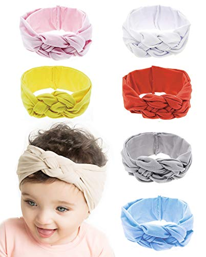 8-12 Pack Baby Girl Cute Headband Headwraps Elastic Bunny Ears Hair Band Holder (Multicolor-6C)