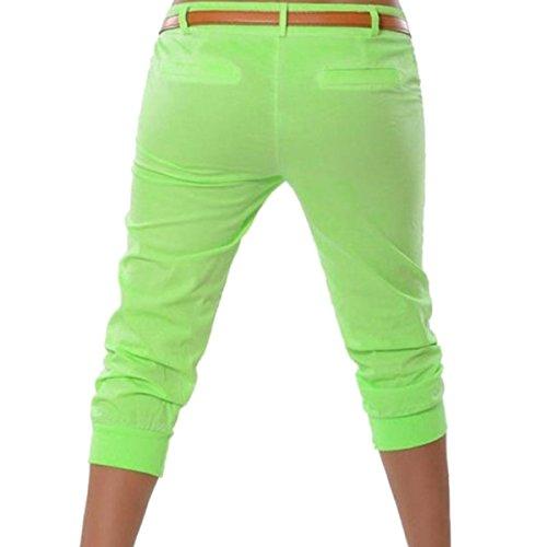 Estate Pantaloncini pantaloni Tasca Pantaloni Orandesigne Donna Da 4 Verde Harem Stretch Capri Pantalone Corti 3 HB54aWn
