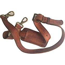 Leather Adjustable Padded Replacement Shoulder Strap with Metal Swivel Hooks for Messenger, Laptop, Camera, Duffle Bags & More