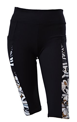 Private Island Hawaii Women UV Rash Guard Leggings Short Pants Surfing Sun Protection Swimming Suit Wth Both Side Pocket Black with Pucci XXX-Large