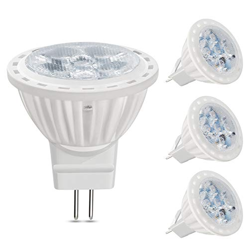 VWV MR11 LED Bulb 4W, 12V AC/DC Voltage, 400 Lumen, 36° Beam Angle, 35W Halogen Bulbs Equivalent,Landscape/Track Lighting, White Light 6000K, Pack of 4