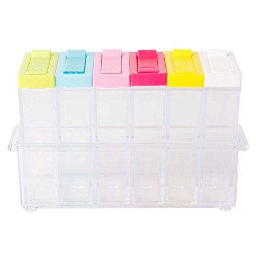 ice Shaker Seasoning Bottle Jar Condiment Storage Container Kitchen with Tray for Salt Sugar Cruet Pepper ()