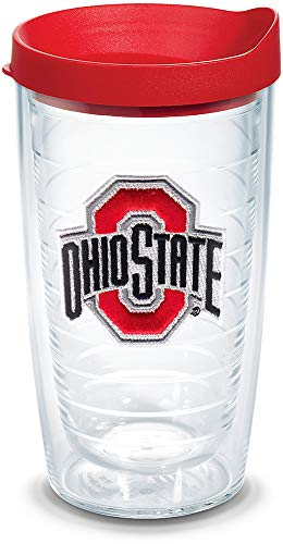 (Tervis 1056683 Ohio State Buckeyes Logo Tumbler with Emblem and Red Lid 16oz, Clear)