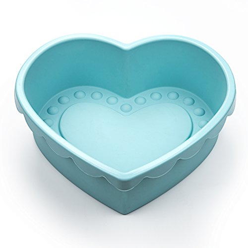 Heart Shape Silicone Baking Mold Nonstick Cake Pan 9 Inch Baking Pan Big for Cake Bread Pie Flan Tart DIY - FDA & BPA Free (9.8