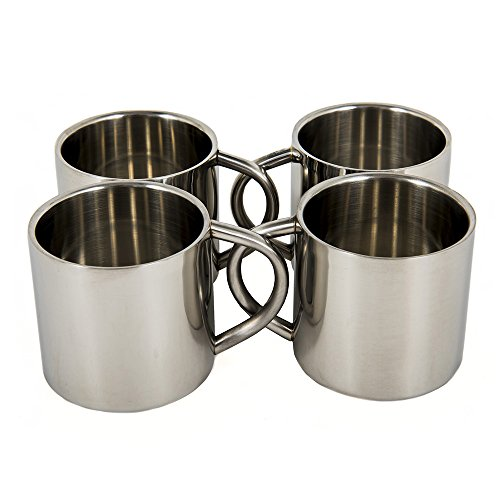 (Silver Stainless Steel Double Wall Espresso Cups, XL, Set of 4)
