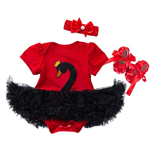 3PCS Toddler Baby Girls Cartoon Swan Princess Dress+Headbands+Shoes Set Outfit Black -