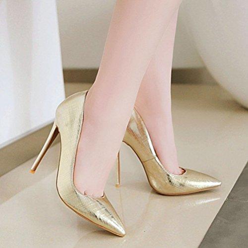 Agodor Elegant Work Shoes Toe Stiletto Summer on Pointed Women's Gold Wedding Pumps Slip High Heels r1SH1wqF