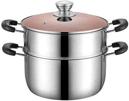 5 Quarts 3 Piece Set VENTION 2 Tier 304 Stainless Steel Steamer Pot with Steamer Insert and Vented Glass Lid
